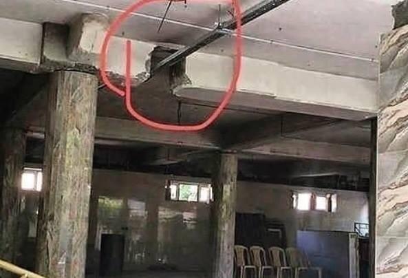 Viga cortada para passar infraestrutura elétrica