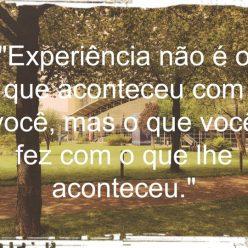 Experiência não é o que aconteceu com você, mas o que você fez com o que lhe aconteceu.